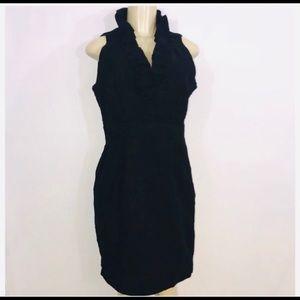 Julian Taylor Ruffle Collar Black Dress